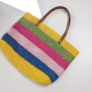 INC Multicolor Blogger Straw Tote Handbag